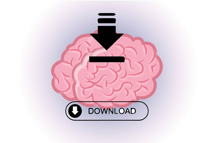 """Graphic of human brain with word """"download"""" and download arrow"""