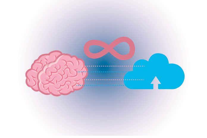 Graphic of human brain with depiction of the cloud
