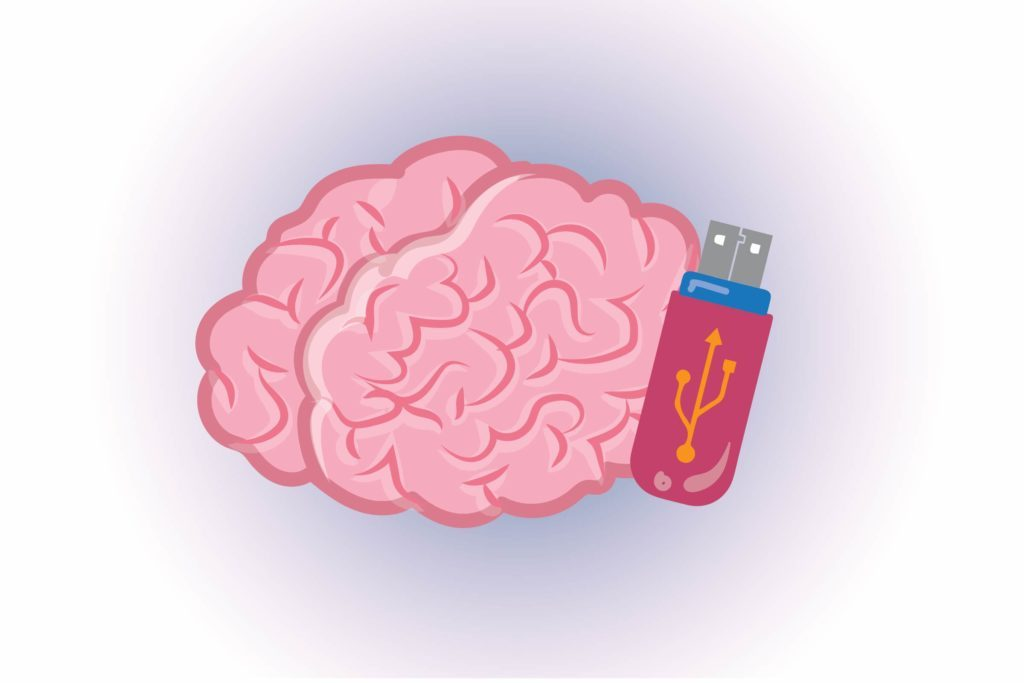 Graphic of human brain with flash drive