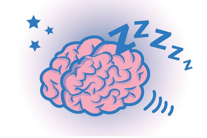 "Graphic of human brain ""sleeping"" with stars and Zzzz's all around"