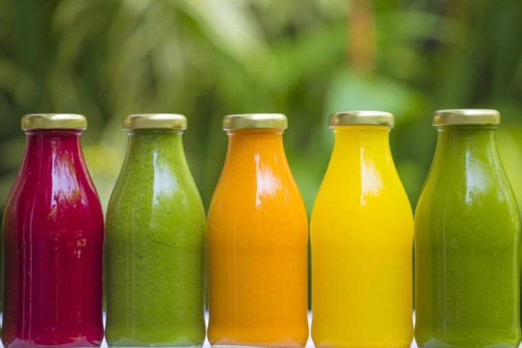 bottles of juice or smoothie