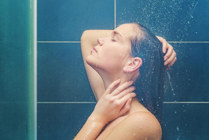 Woman in the shower.