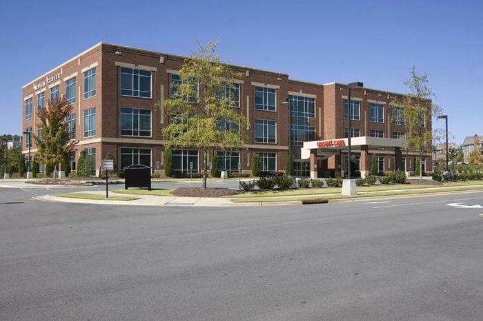 large brick hospital building