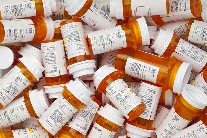 pile of prescription bottles