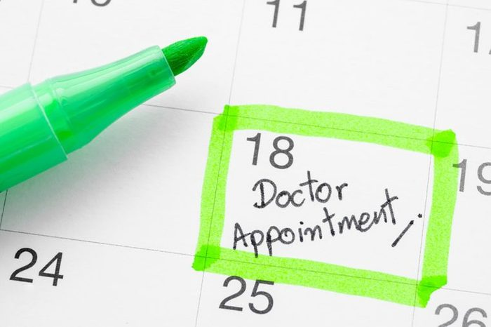 calendar with green pen indicating a doctor's appointment