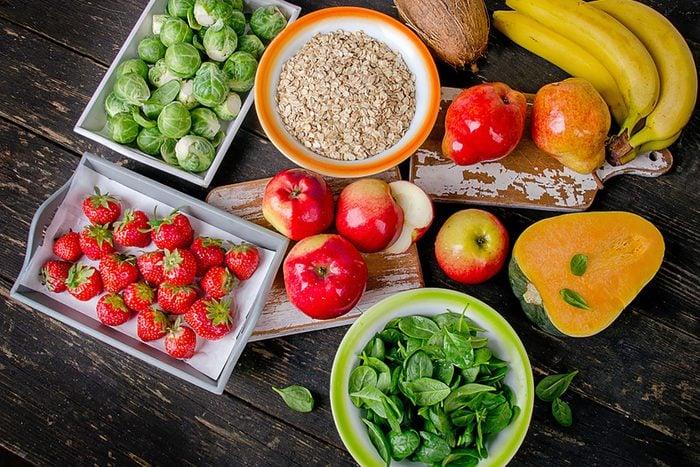 fruits, vegetables, greens, oats
