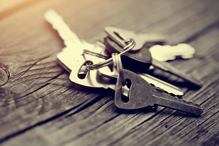 set of keys on wood table