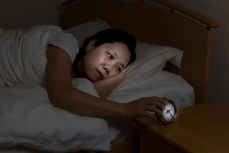 woman unable to sleep