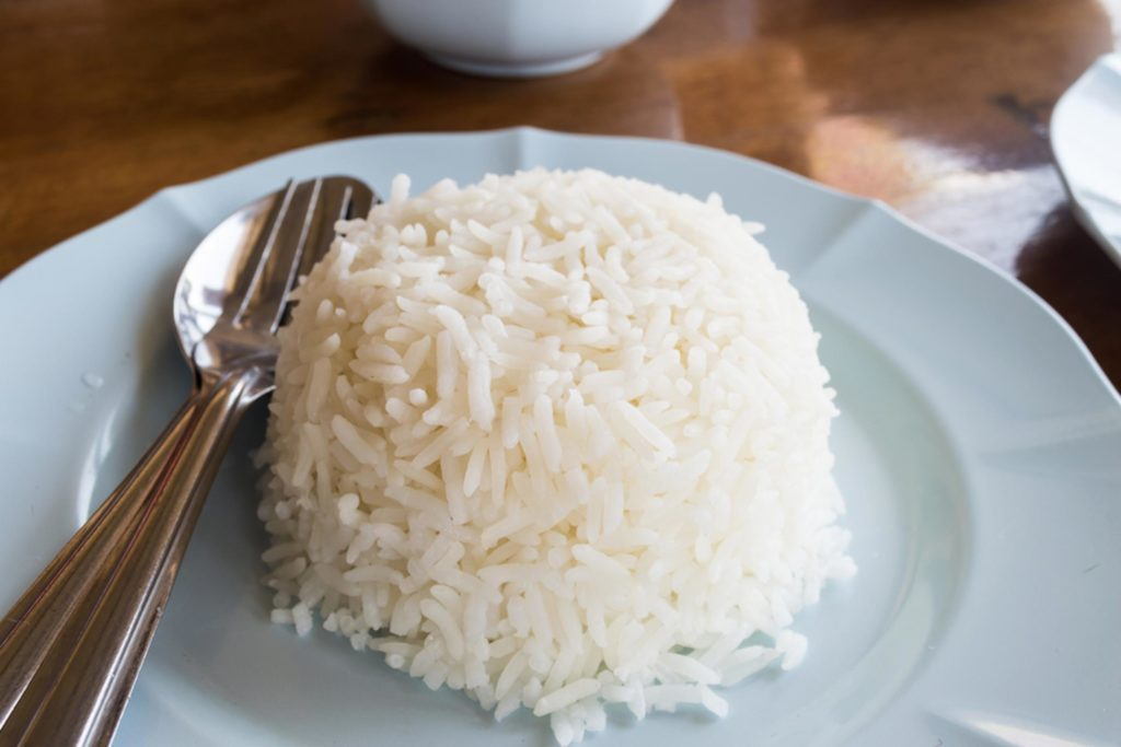 Mound of white rice on a plate