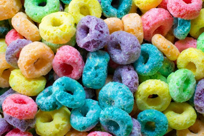 Close-up of brightly colored cereal