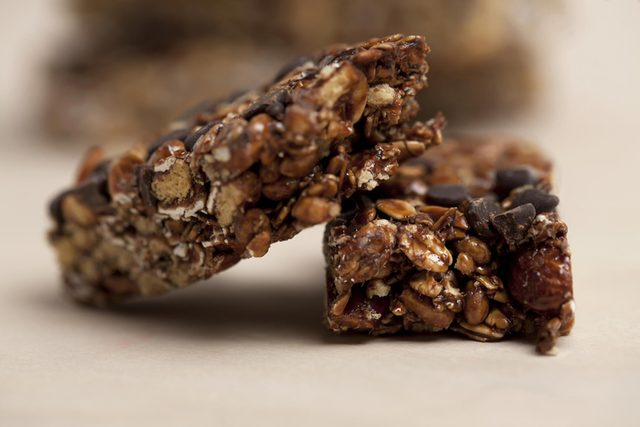 Close-up of chocolate granola bar