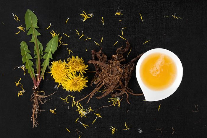Dandelion blossoms, stems, roots, and extract