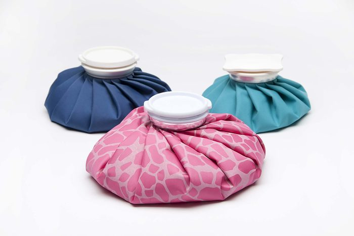 Refillable ice packs for relieving pain and injury.