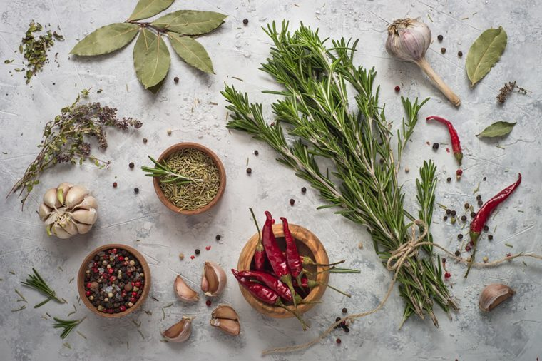 assortment of fresh herbs and spices