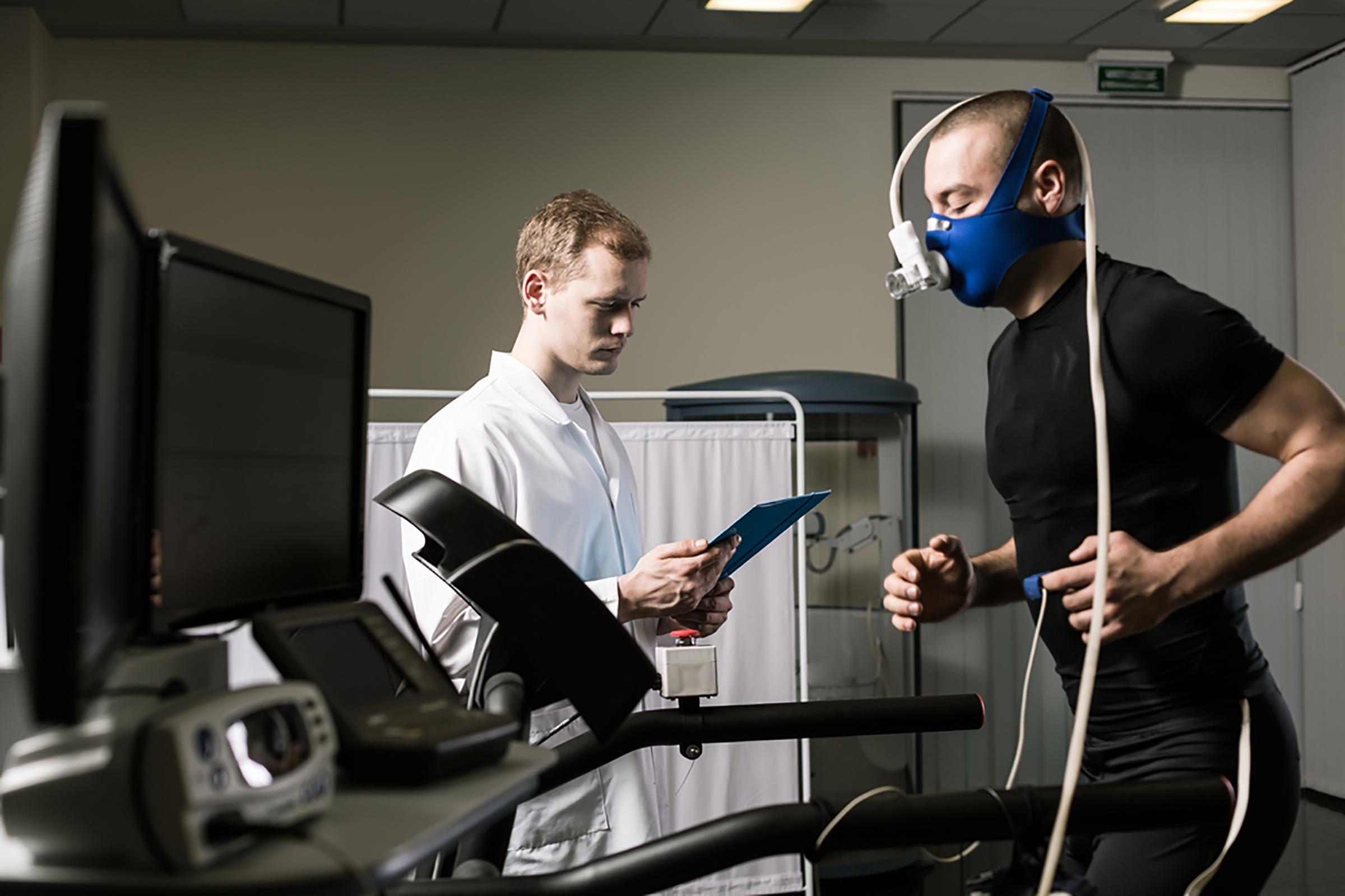 patient taking stress test