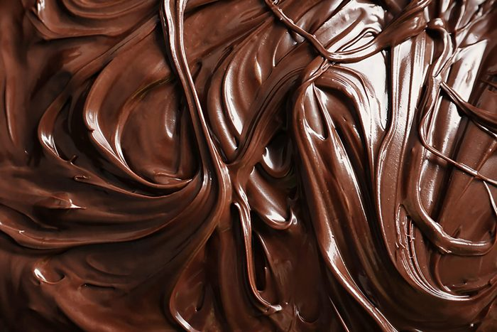 close up of swirled melted chocolate