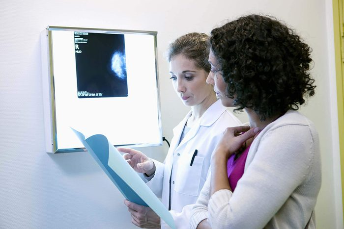 doctor discussing mammogram with patient