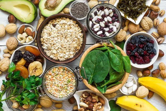 Veggies, fruit, beans, nuts, seeds, and grains.