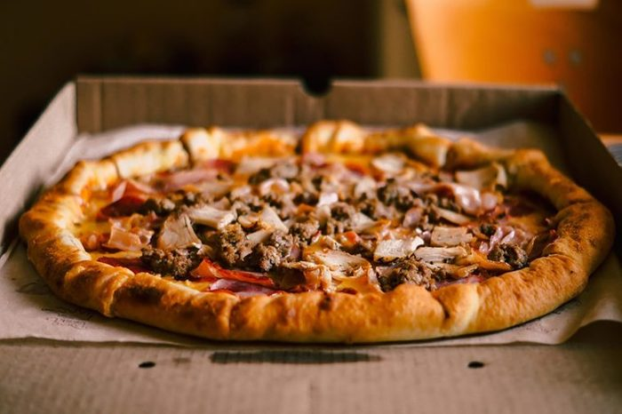 meat pizza in a box