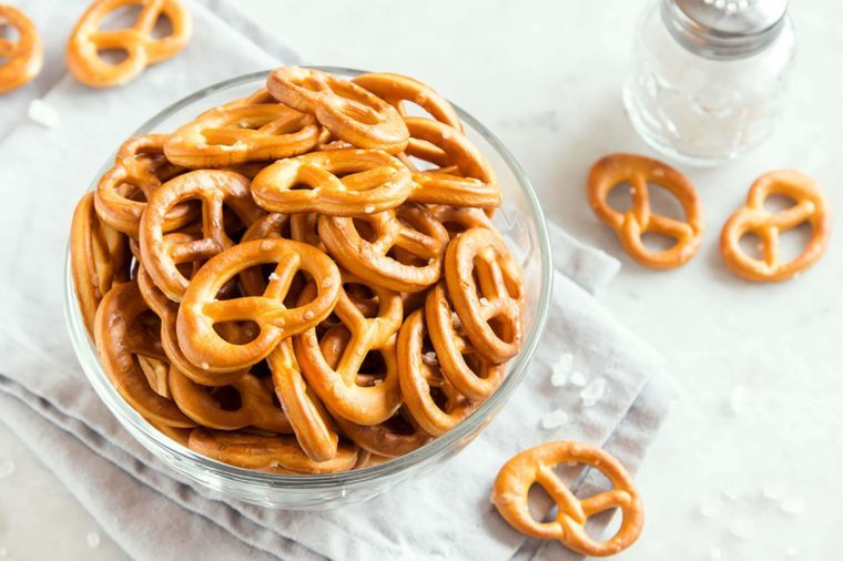 Pretzels in a glass bowl on a table