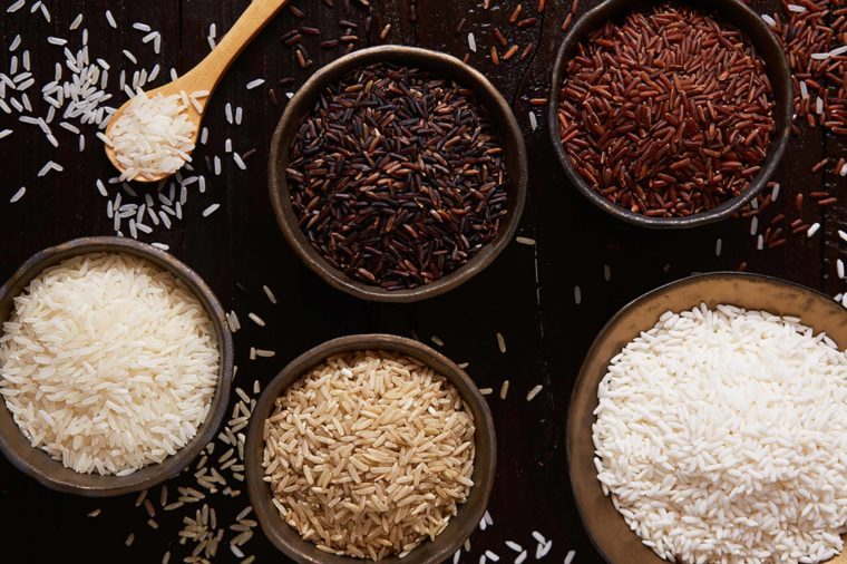 Rice varieties in bowls