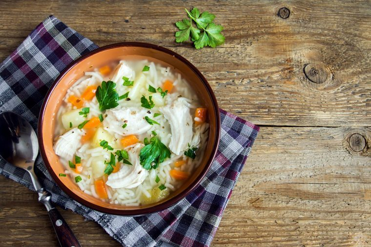 bowl of soup on checkered napkin