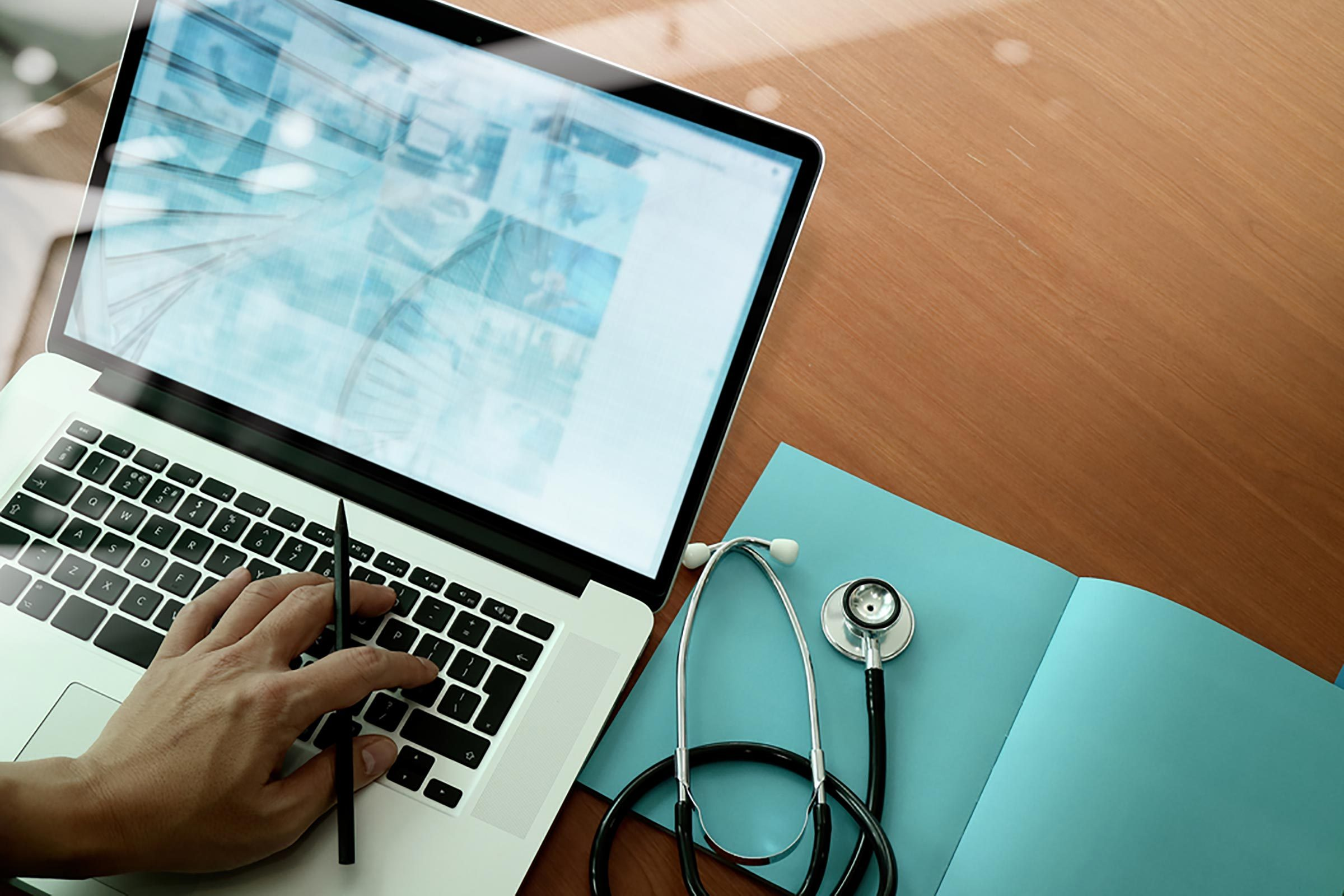 doctor using laptop