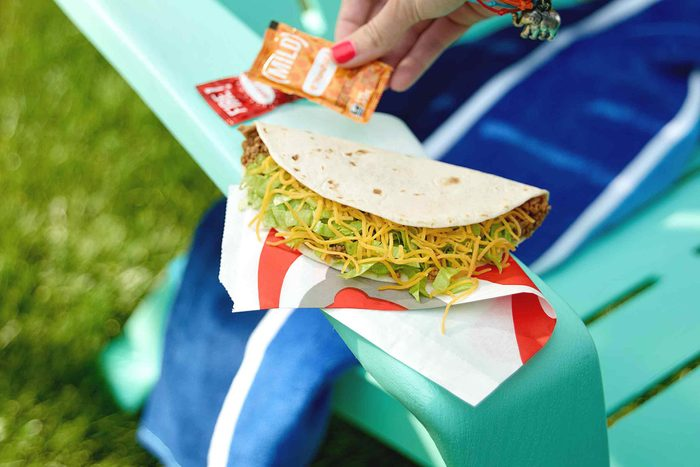 Taco Bell taco on a chair.