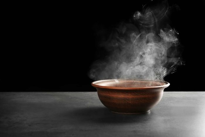 bowl of steaming hot water