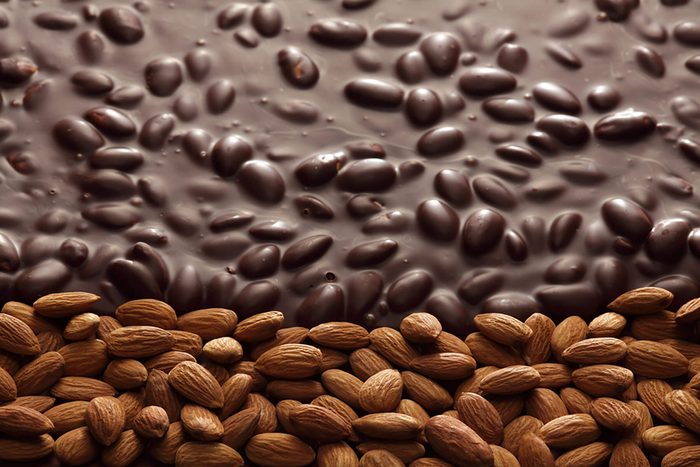 almonds with chocolate melted on top
