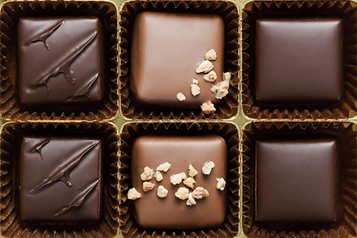 six chocolates in a gift box