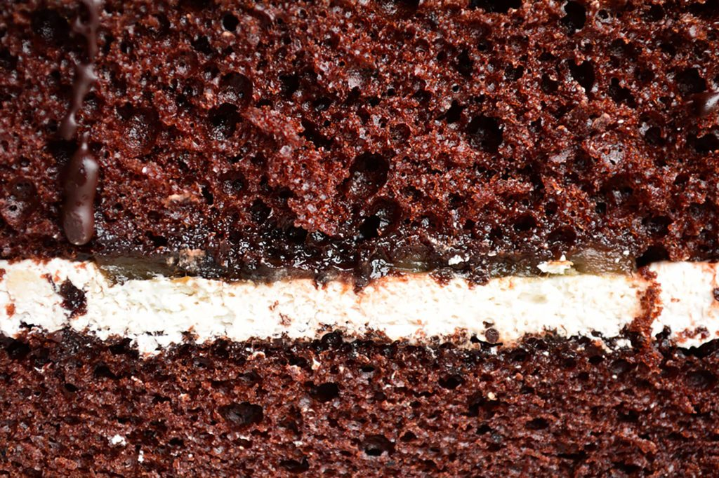 chocolate cake with white filling