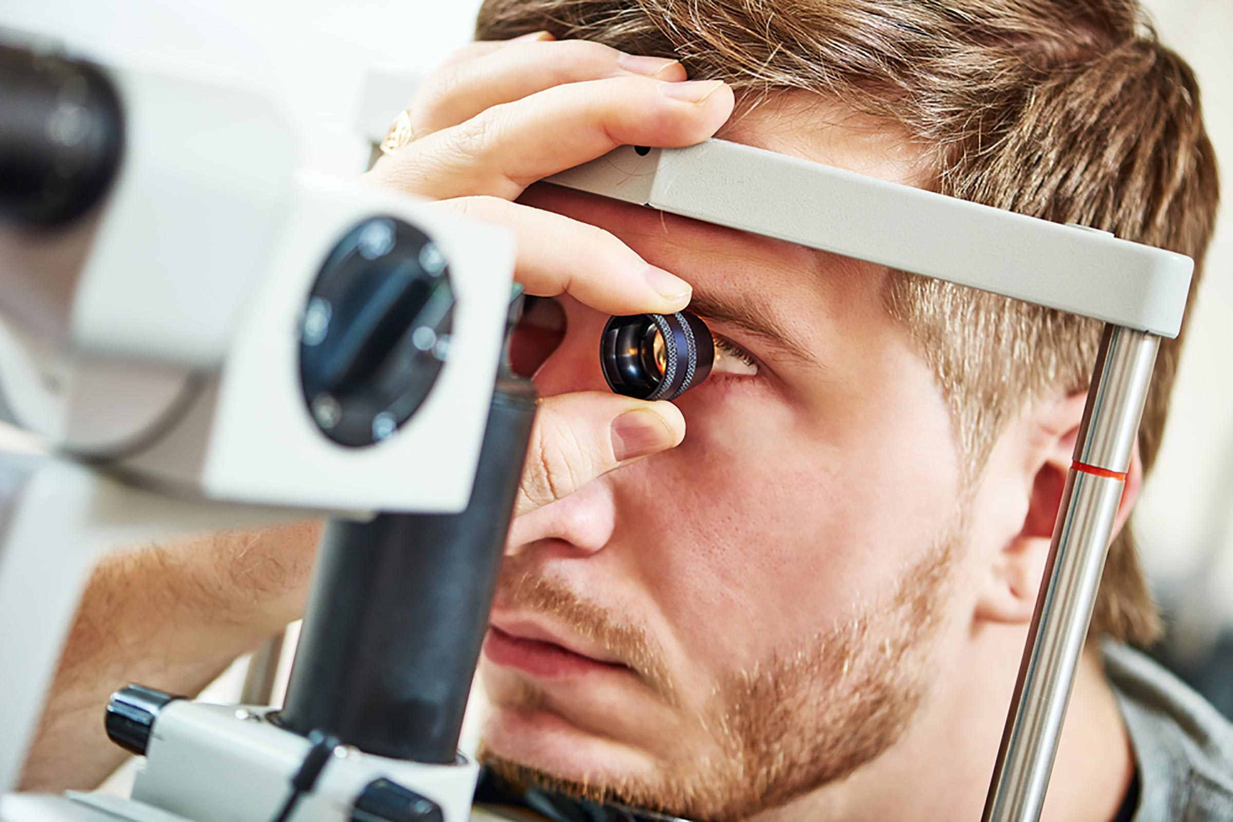 man having an eye exam