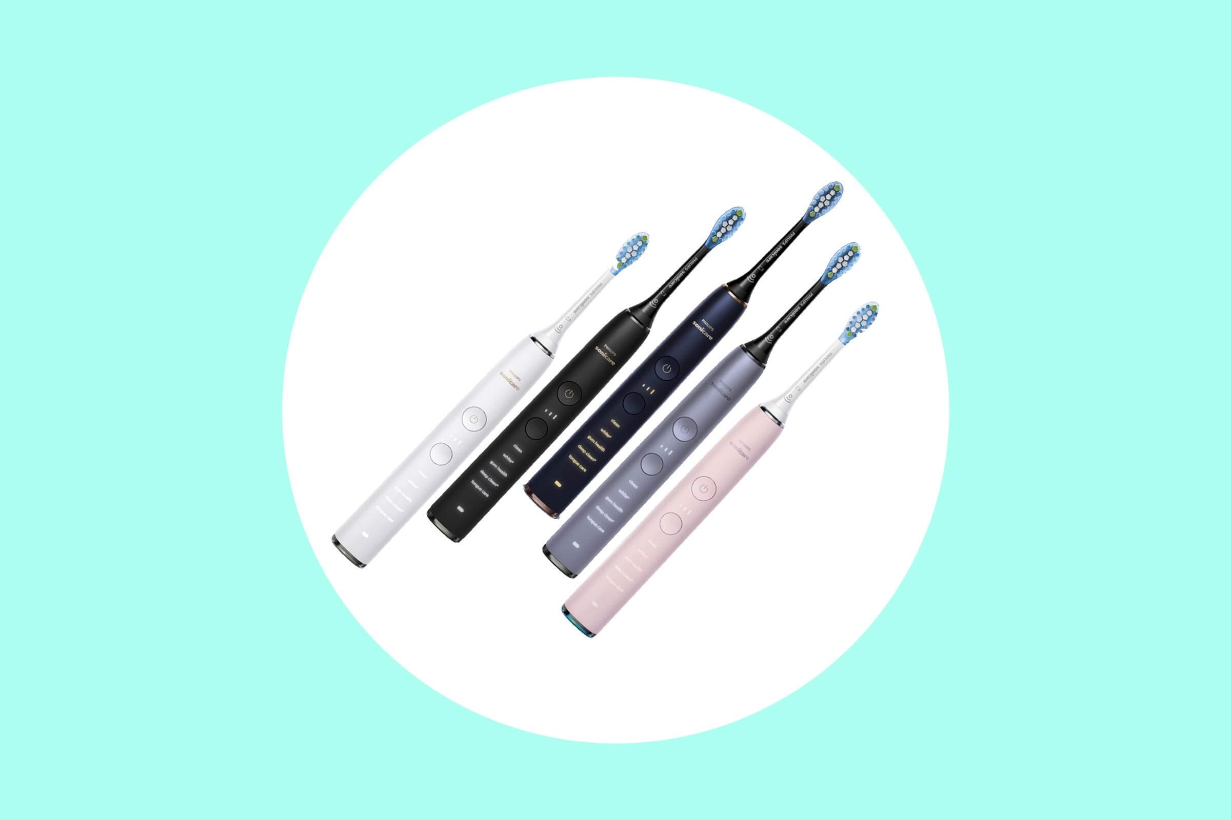 Philips Sonicare toothbrushes in multiple colors.