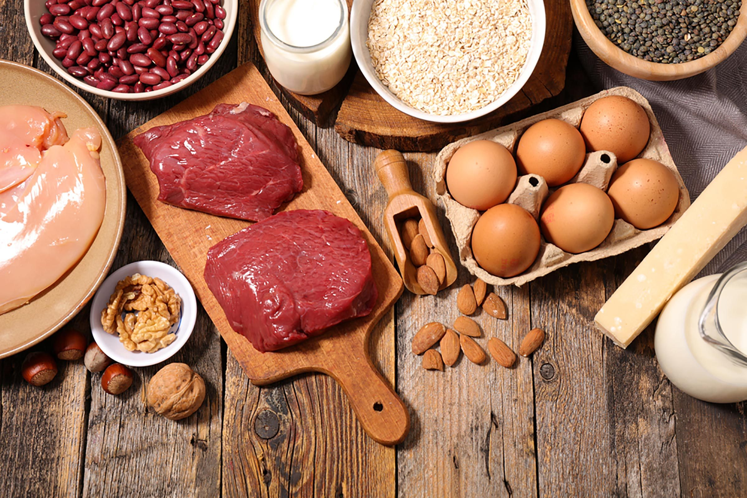 Beef, chicken, eggs, beans, and other protein sources.