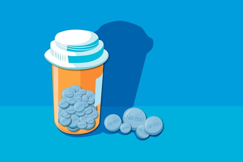 Illustration of a pill bottle and pills.