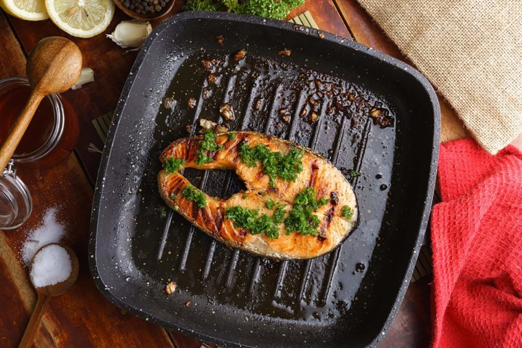 Fish topped with parsley
