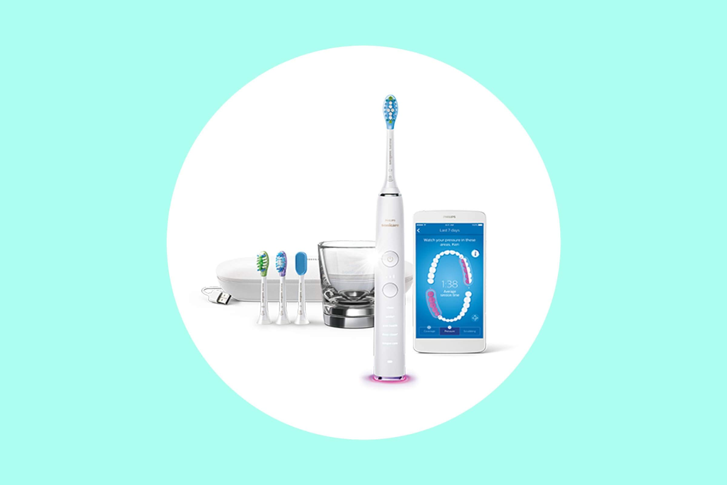 Philips Sonicare DiamondClean toothbrush with multiple brush heads.