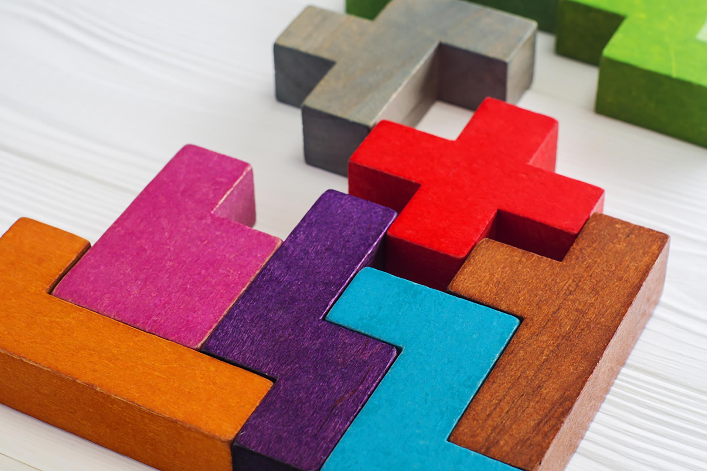 Tetris-like colored wooden blocks