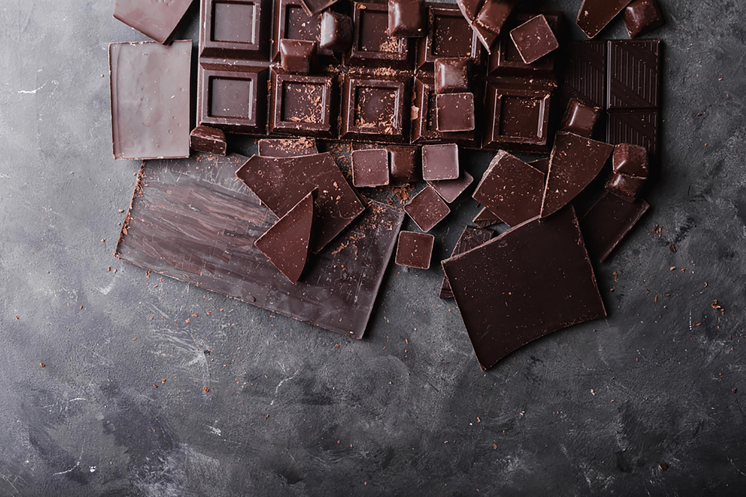 collection of dark chocolate squares