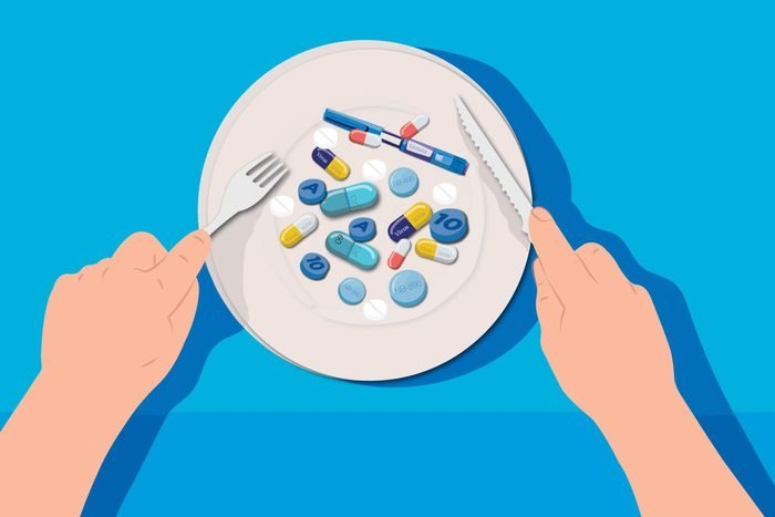 Illustration of a plateful of diet medications.