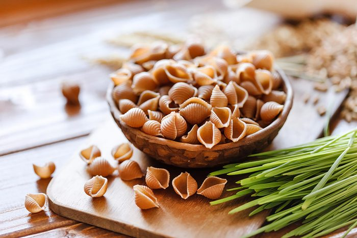 Bowl of uncooked pasta.