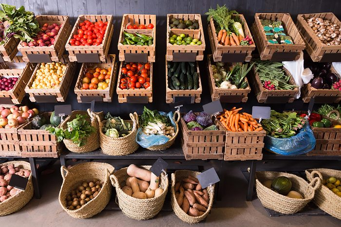 Baskets of produce at the farmer's market.