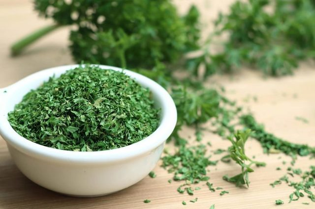 Parsley in white bowl