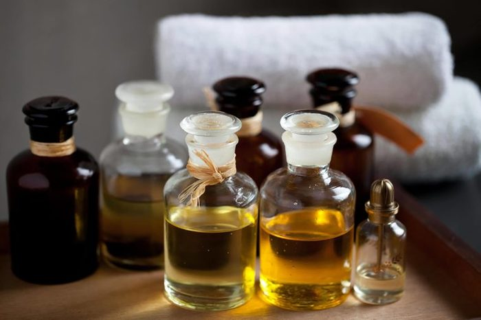 different little jars of essential oils