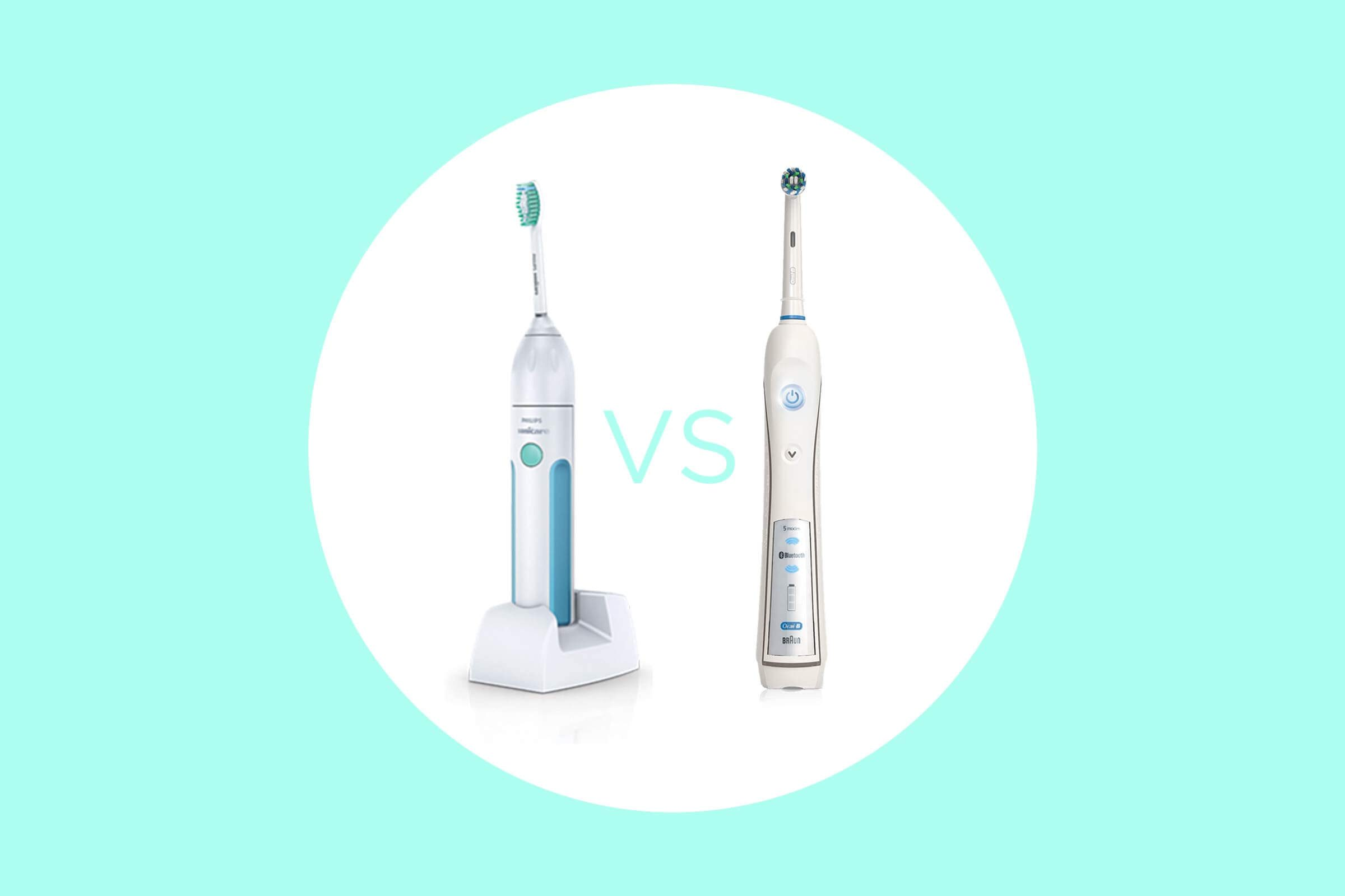 Sonicare and Oral-B brushes side by side.