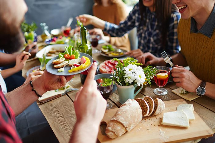 A group of people dining together