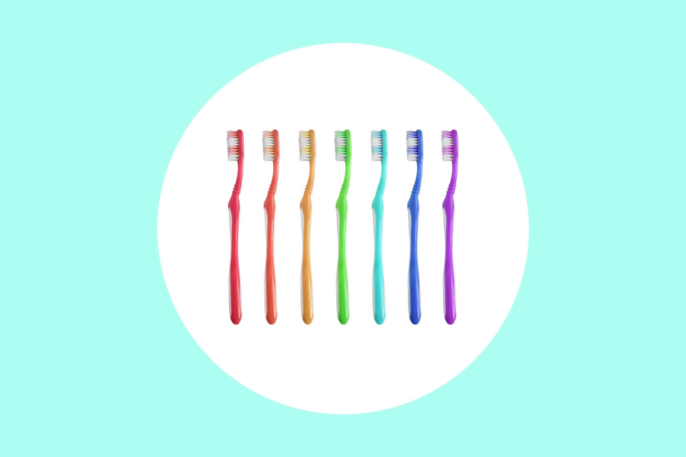 A rainbow of kids' toothbrushes.