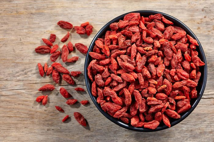 Goji berries in a black bowl