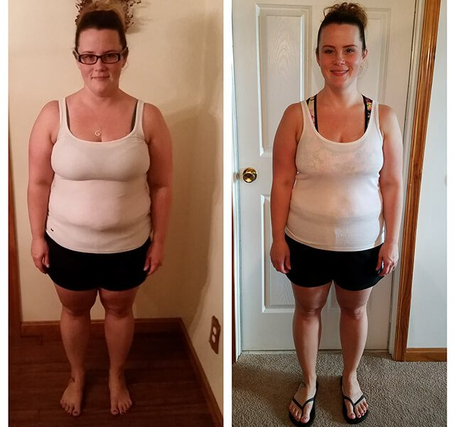 Before and after shots of Amanda Surdel